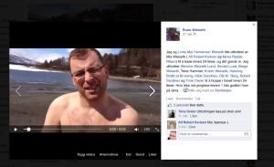 Slik ble Rune Weiseths første svømmetur i Ångardsvatnet i 2014 dokumentert på video.