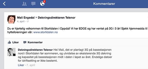 Dekningsdirektør Bjørn Amundsen i Telenor antydet 3G-hastighet innerst i Storlidalen «før sommeren» i denne Facebook-meldingen fra april.