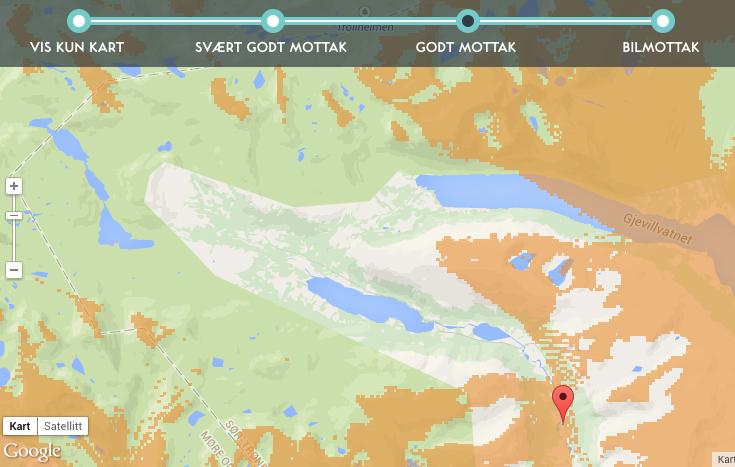 DAB: Den innerste delen av Storlidalen er bokstavelig talt en hvit flekk på kartet når det gjelder DAB-radio. (Ill.: Dekningskart hos Radio.no)