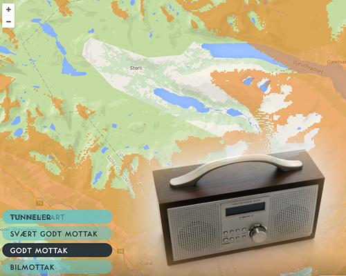 DEKNING: Kartet fra Radio.no er ikke oppløftende for dem som ønsker å høre DAB+-radio i Storlidalen. (Ill.: Radio.no + Pixaby.com)
