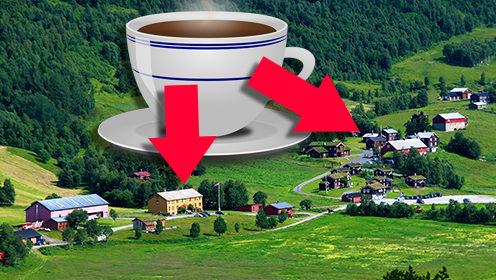 KAFFEGARDENE: Her er de to «kaffegardene» innerst i Storlidalen – Storli Gard (til venstre) og Bortistu Gjestegard. (Arkivfoto: Toralv Østvang. Innfelt illustrasjon: Pixabay.com)