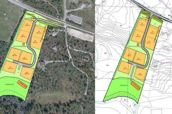 UTKJØRSLER: Bygningsrådet ha nå fattet beslutning i spørsmålet om utkjørsel fra Gjelhaugtrøa hyttegrrend. (Kart: Siv. Agric. Ola Fjøsne)